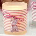 Pink Teddy bear themed frosted glass votive from fashioncraft
