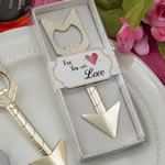 Cupids arrow gold metal bottle opener