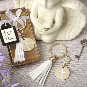 Gold metal cross themed white tassel key chain
