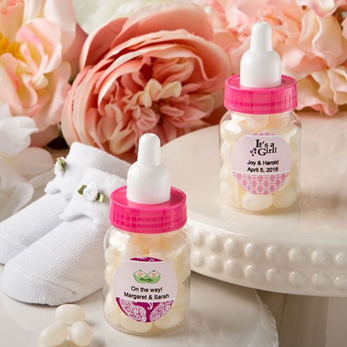 Personalized Expressions Collection Baby Girl Bottle Favor with White Jelly Bean Candy from HotRef