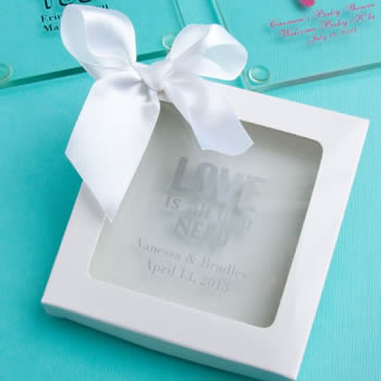 "White Gift Box White Satin Bow: 3.5"" x 3.5"" x 0.5"""