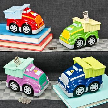 Delightful Dump Truck Banks from Gifts By Fashioncraft