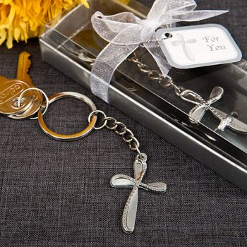 Metal cross key chain with beaded design
