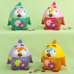 Multicolored ceramic baby chick banks