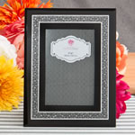 Black and silver mirror beveled glass frame 4 x 6