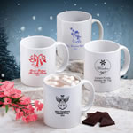 White Ceramic Coffee Mug - Holiday Designs