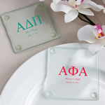 Personalized Glass Coasters: Greek Designs