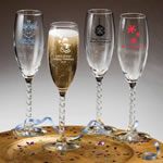 "Champagne Flute With Twisted Stem: Holiday <span class=""smaller"">(gift boxes available)</span>"