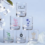 Round Shot Glass/Votive Candle Holder - Holiday Designs