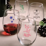 "Stemless Wine Glasses - Holiday Designs <span class=""smaller"">(gift boxes available)</span>"
