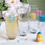 <em>Silkscreened Glassware Collection</em> stemless Champagne flute favors