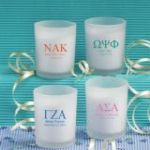 Frosted Glass Candle Holder With Wax: Greek Designs