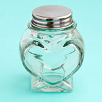 <em>Perfectly Plain Collection</em> Heart Shaped Glass Jars