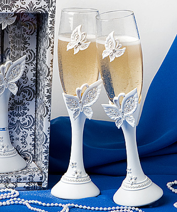 Add style and elegance to your toast with butterfly design toasting flutes