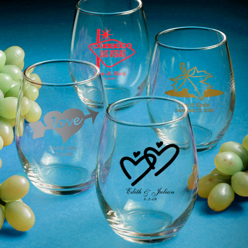 Rock Candy Filled Champagne Glasses: 100 Personalized Stemless Wine Glasses Wedding / Bridal