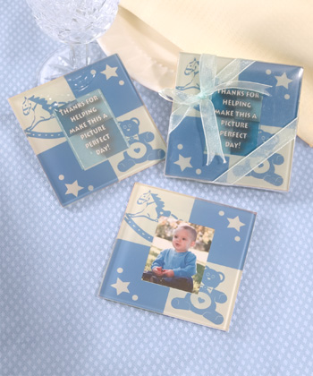 Baby Boy Glass Photo Coasters