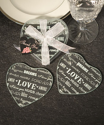 Heart Design Glass Coaster Favors (Set of 2) - Clearance