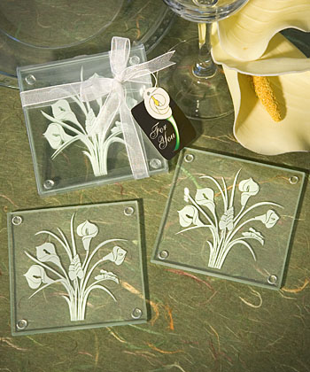 Calla Lily Bouquet Design Glass Coaster Sets (Set of 2) - Clearance