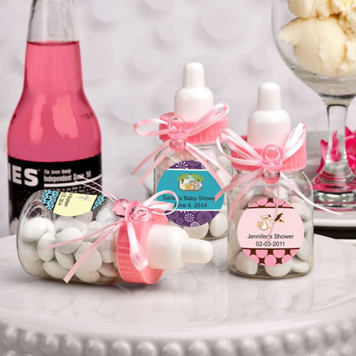 100 Design Your Own Collection Pink Baby Bottle Baby Shower Favors