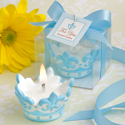 75 blue crown design scented candle christening baby shower favors